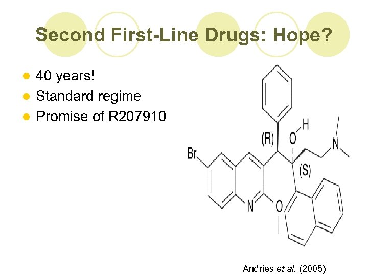 Second First-Line Drugs: Hope? 40 years! l Standard regime l Promise of R 207910