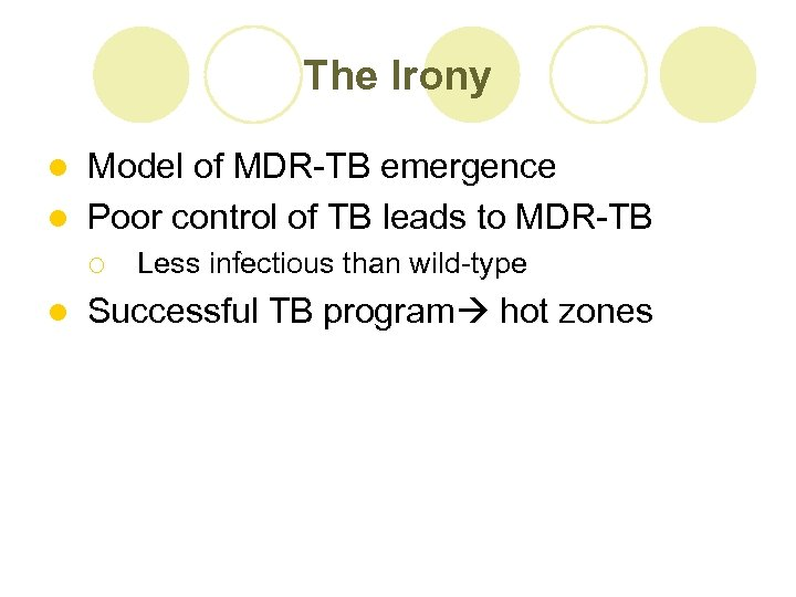 The Irony Model of MDR-TB emergence l Poor control of TB leads to MDR-TB