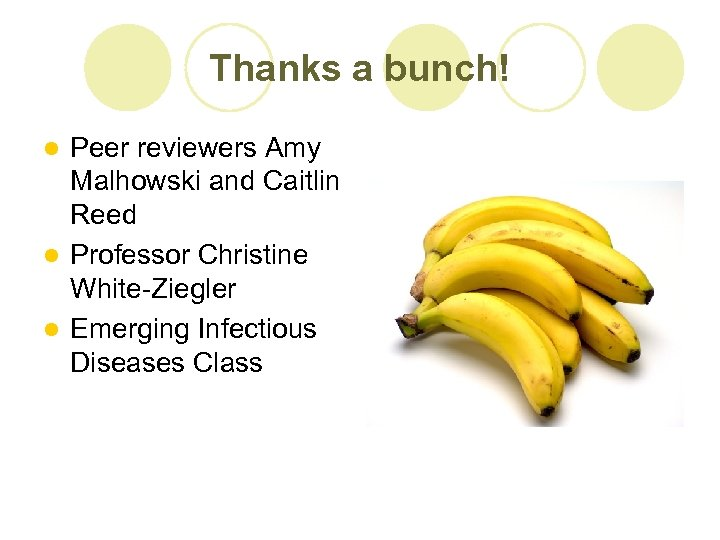 Thanks a bunch! Peer reviewers Amy Malhowski and Caitlin Reed l Professor Christine White-Ziegler