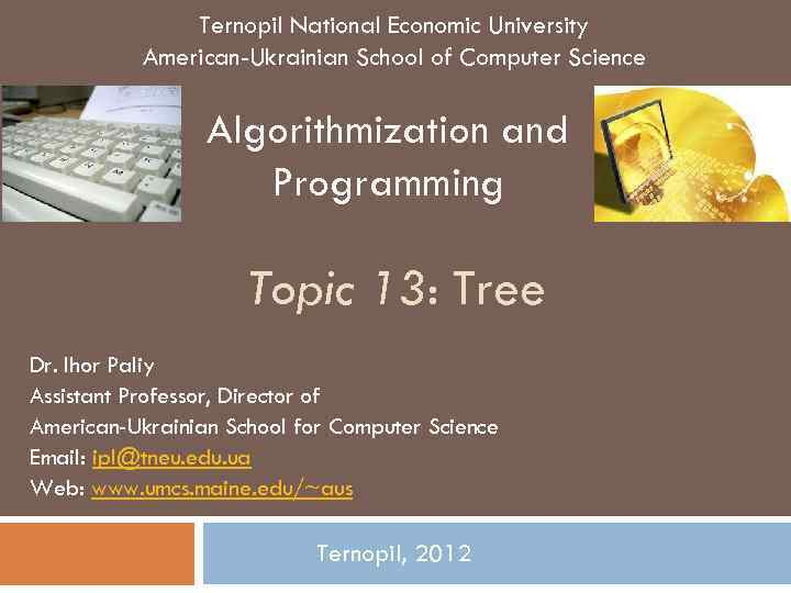 Ternopil National Economic University American-Ukrainian School of Computer Science Algorithmization and Programming Topic 13:
