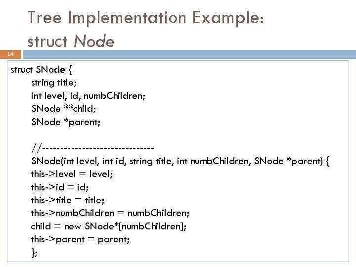 14 Tree Implementation Example: struct Node struct SNode { string title; int level, id,