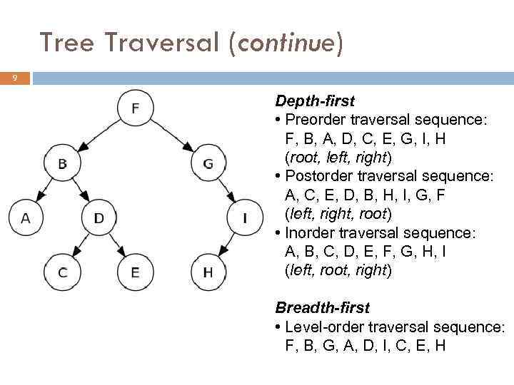 Tree Traversal (continue) 9 Depth-first • Preorder traversal sequence: F, B, A, D, C,