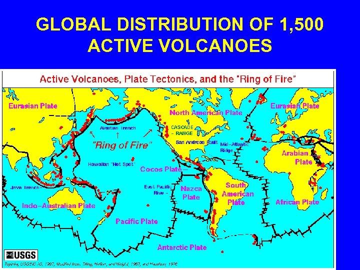 GLOBAL DISTRIBUTION OF 1, 500 ACTIVE VOLCANOES