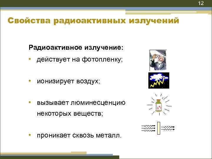 12 Свойства радиоактивных излучений Радиоактивное излучение: • действует на фотопленку; • ионизирует воздух; •