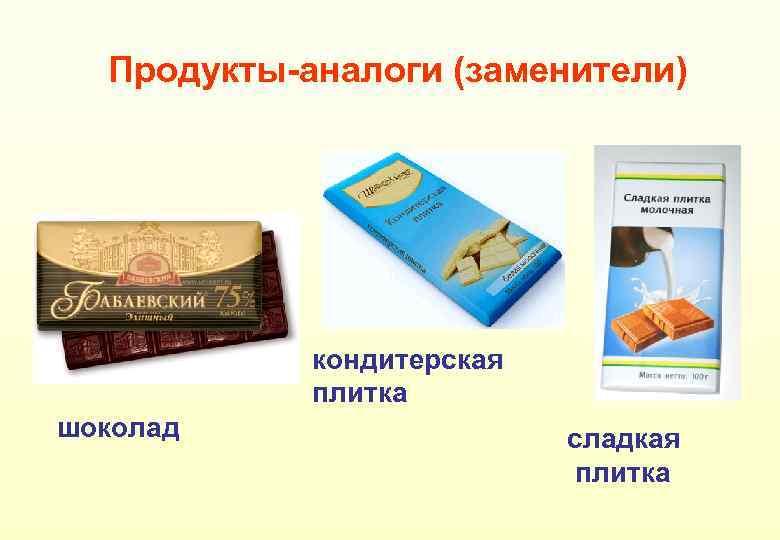 Продукты-аналоги (заменители) кондитерская плитка шоколад сладкая плитка