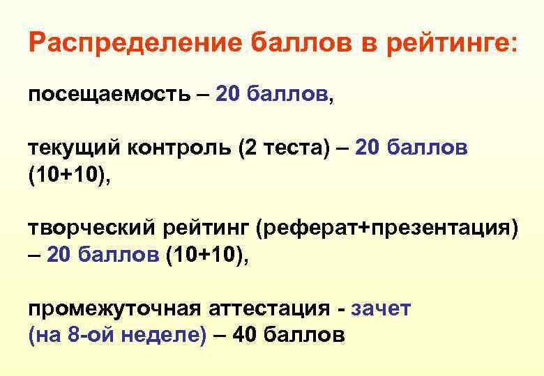 Распределение баллов в рейтинге: посещаемость – 20 баллов, текущий контроль (2 теста) – 20