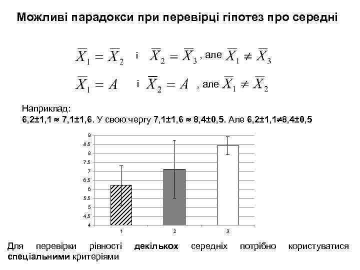 Можливі парадокси при перевірці гіпотез про середні , але і і , але Наприклад: