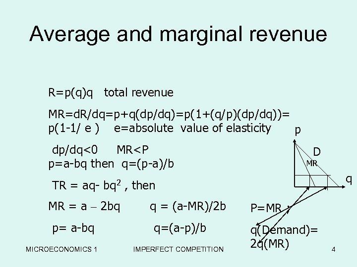 Average and marginal revenue R=p(q)q total revenue MR=d. R/dq=p+q(dp/dq)=p(1+(q/p)(dp/dq))= p(1 -1/ e ) e=absolute