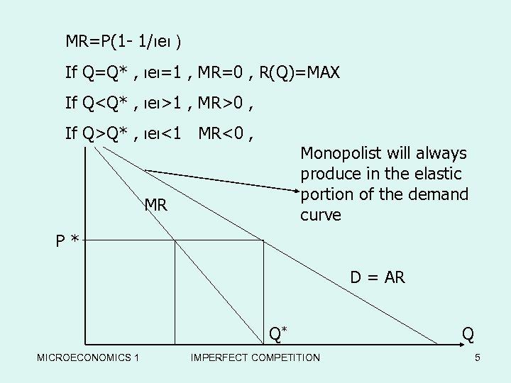 MR=P(1 - 1/ιeι ) If Q=Q* , ιeι=1 , MR=0 , R(Q)=MAX If P