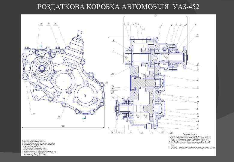 РОЗДАТКОВА КОРОБКА АВТОМОБІЛЯ УАЗ-452