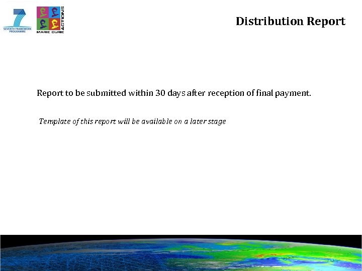 Distribution Report to be submitted within 30 days after reception of final payment. Template