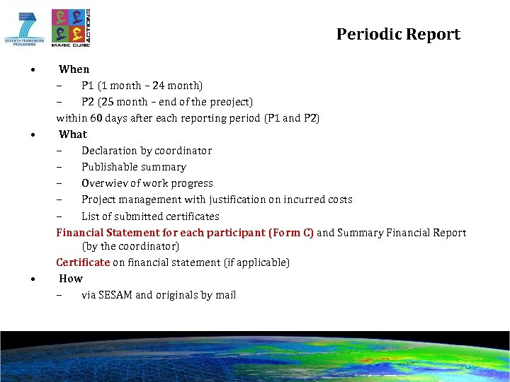 Periodic Report • • • When – P 1 (1 month – 24 month)