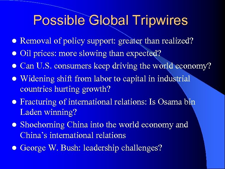 Possible Global Tripwires l l l l Removal of policy support: greater than realized?