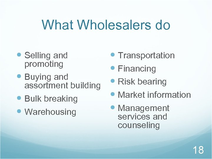 What Wholesalers do Selling and Transportation promoting Financing Buying and Risk bearing assortment building