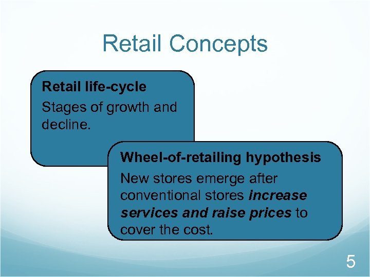 Retail Concepts Retail life-cycle Stages of growth and decline. Wheel-of-retailing hypothesis New stores emerge