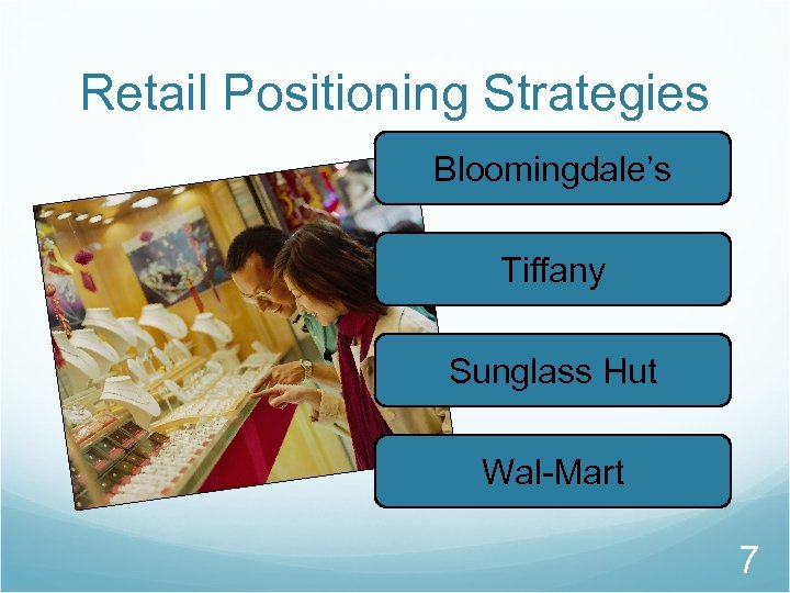 Retail Positioning Strategies Bloomingdale's Tiffany Sunglass Hut Wal-Mart 7
