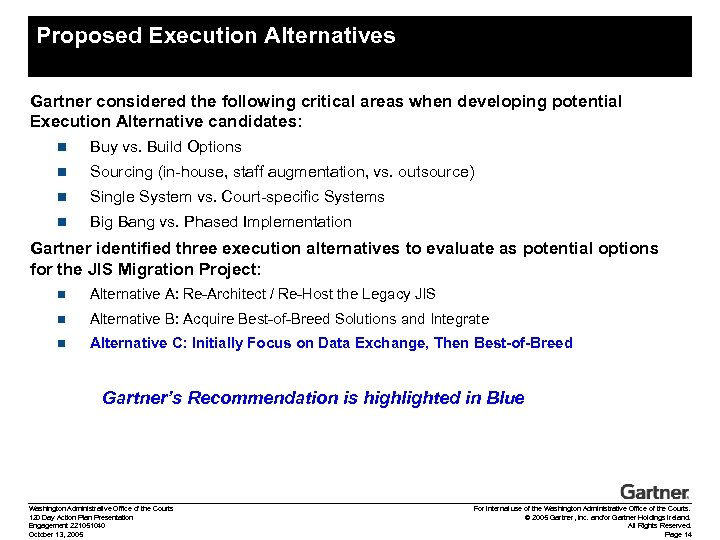Proposed Execution Alternatives Gartner considered the following critical areas when developing potential Execution Alternative