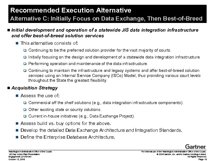 Recommended Execution Alternative C: Initially Focus on Data Exchange, Then Best-of-Breed n Initial development