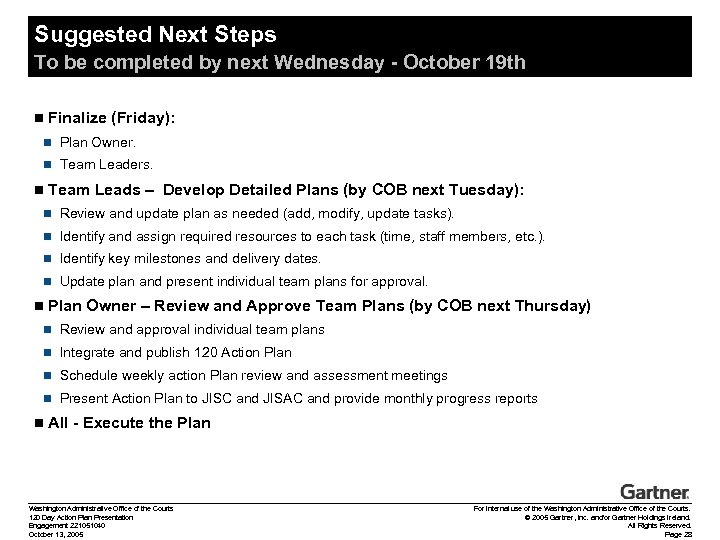 Suggested Next Steps To be completed by next Wednesday - October 19 th n