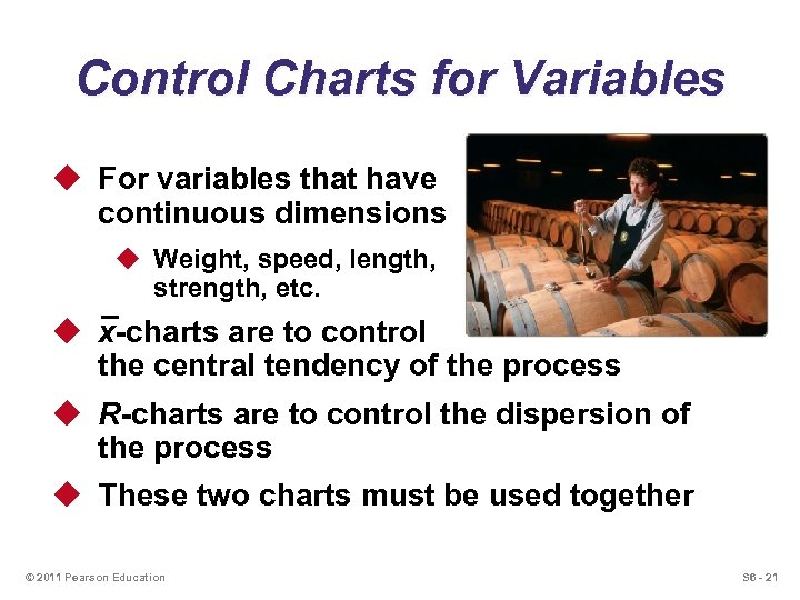Control Charts for Variables u For variables that have continuous dimensions u Weight, speed,
