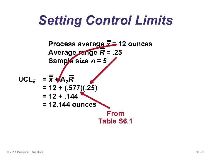 Setting Control Limits Process average x = 12 ounces Average range R =. 25