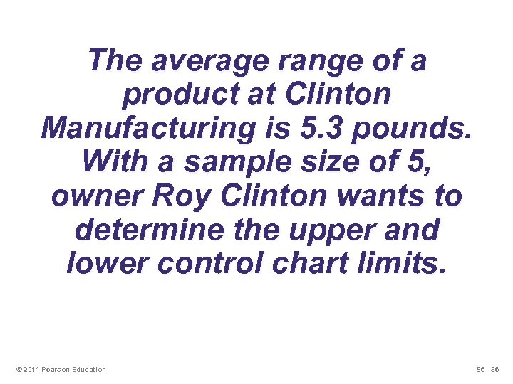 The average range of a product at Clinton Manufacturing is 5. 3 pounds. With