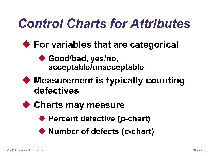 Control Charts for Attributes u For variables that are categorical u Good/bad, yes/no, acceptable/unacceptable