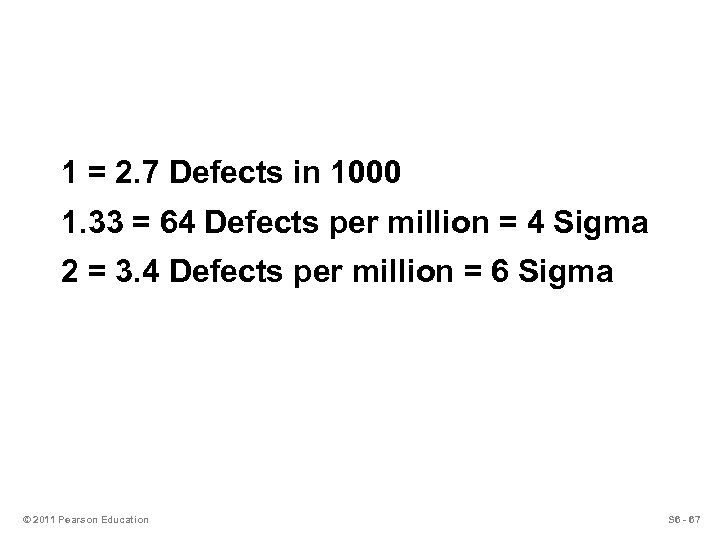 1 = 2. 7 Defects in 1000 1. 33 = 64 Defects per million