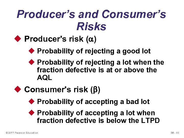 Producer's and Consumer's Risks u Producer's risk ( ) u Probability of rejecting a