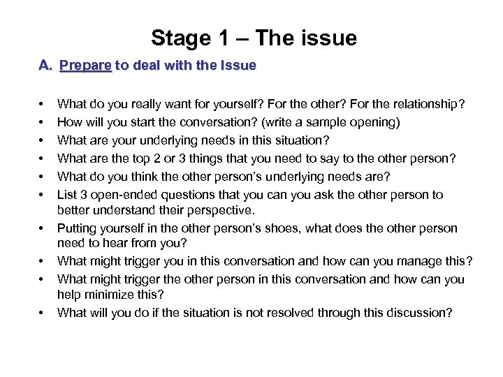 Stage 1 – The issue A. Prepare to deal with the Issue • •