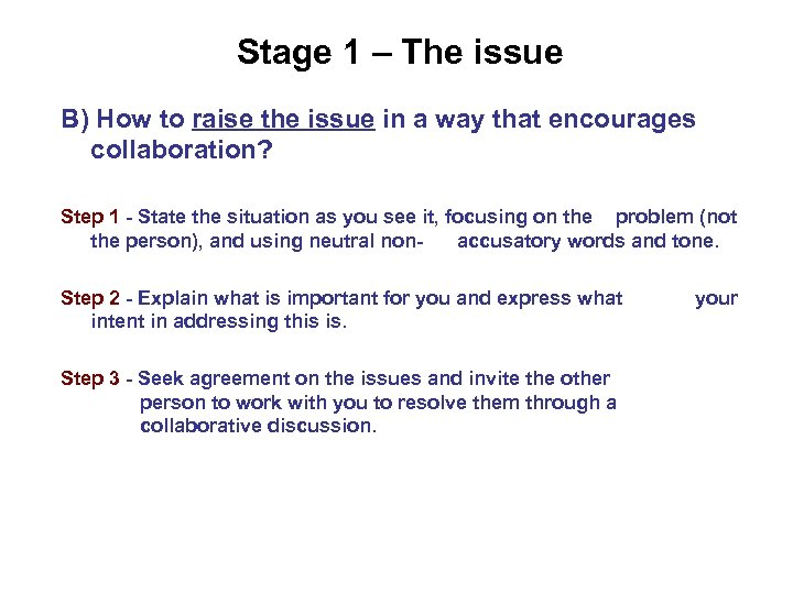 Stage 1 – The issue B) How to raise the issue in a way