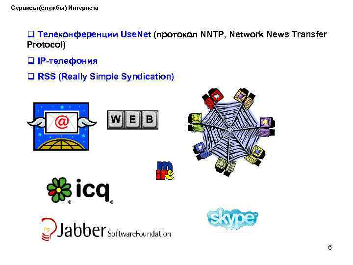 Сервисы (службы) Интернета q Телеконференции Use. Net (протокол NNTP, Network News Transfer Protocol) q
