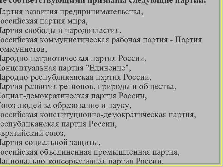 Не соответствующими признаны следующие партии: Партия развития предпринимательства, Российская партия мира, Партия свободы и