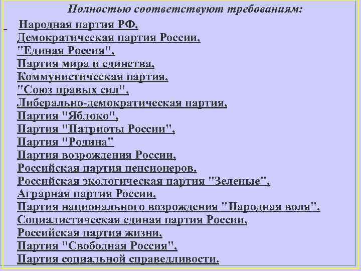 Полностью соответствуют требованиям: Народная партия РФ, Демократическая партия России,