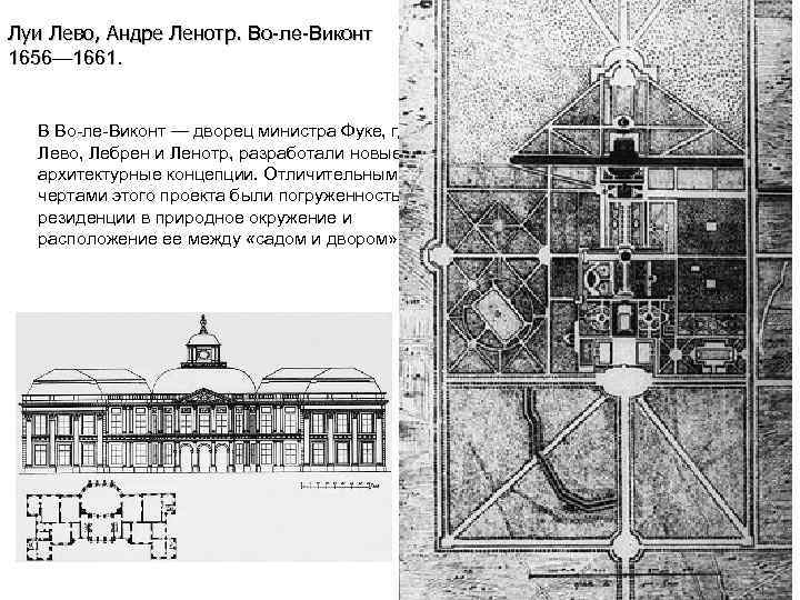 Луи Лево, Андре Ленотр. Во-ле-Виконт 1656— 1661. В Во-ле-Виконт — дворец министра Фуке, где