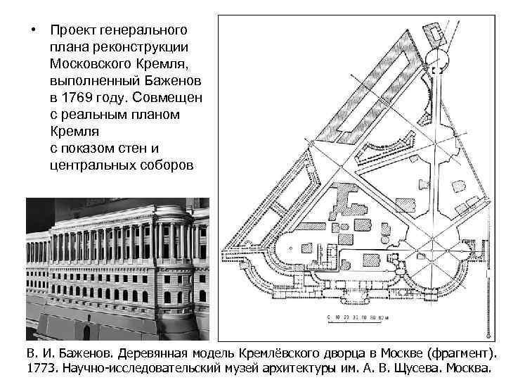 • Проект генерального плана реконструкции Московского Кремля, выполненный Баженов в 1769 году. Совмещен