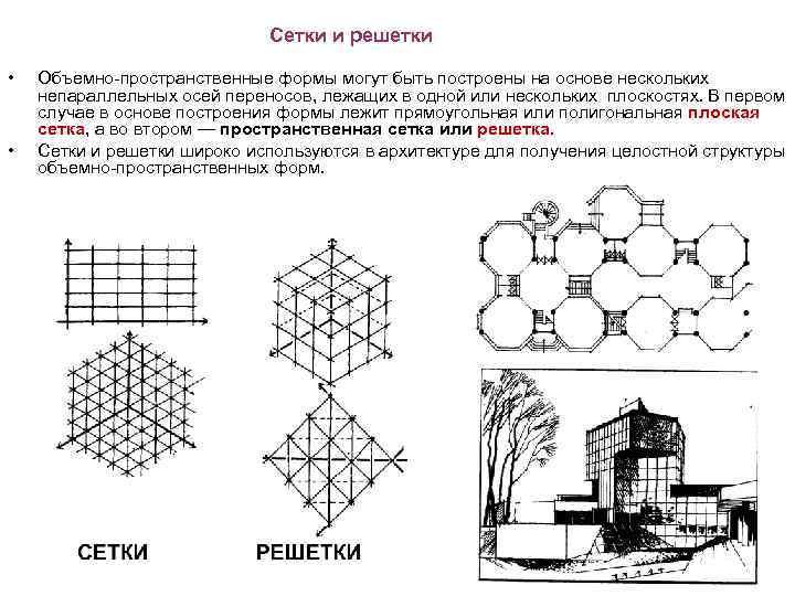 Сетки и решетки • • Объемно-пространственные формы могут быть построены на основе нескольких непараллельных