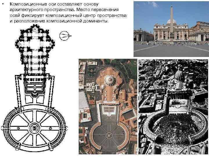 • Композиционные оси составляют основу архитектурного пространства. Место пересечения осей фиксирует композиционный центр