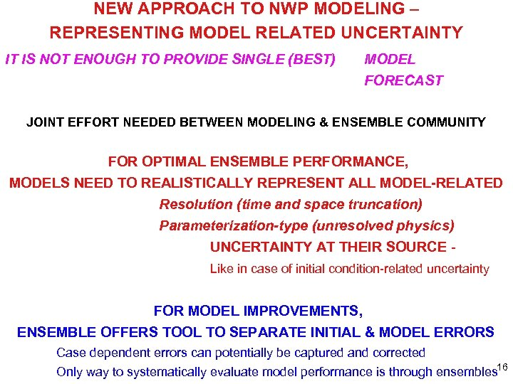 NEW APPROACH TO NWP MODELING – REPRESENTING MODEL RELATED UNCERTAINTY IT IS NOT ENOUGH