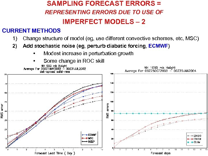 SAMPLING FORECAST ERRORS = REPRESENTING ERRORS DUE TO USE OF IMPERFECT MODELS – 2