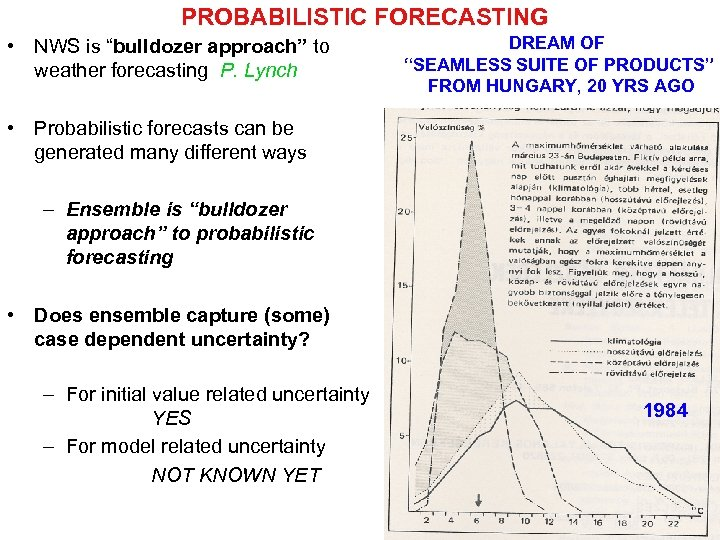 """PROBABILISTIC FORECASTING • NWS is """"bulldozer approach"""" to weather forecasting P. Lynch DREAM OF"""