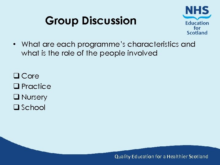 Group Discussion • What are each programme's characteristics and what is the role of