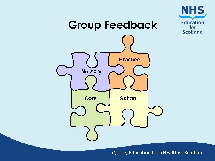 Group Feedback Practice Nursery Core School Quality Education for a Healthier Scotland