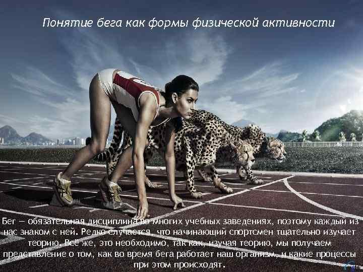 Понятие бега как формы физической активности Бег — обязательная дисциплина во многих учебных заведениях,