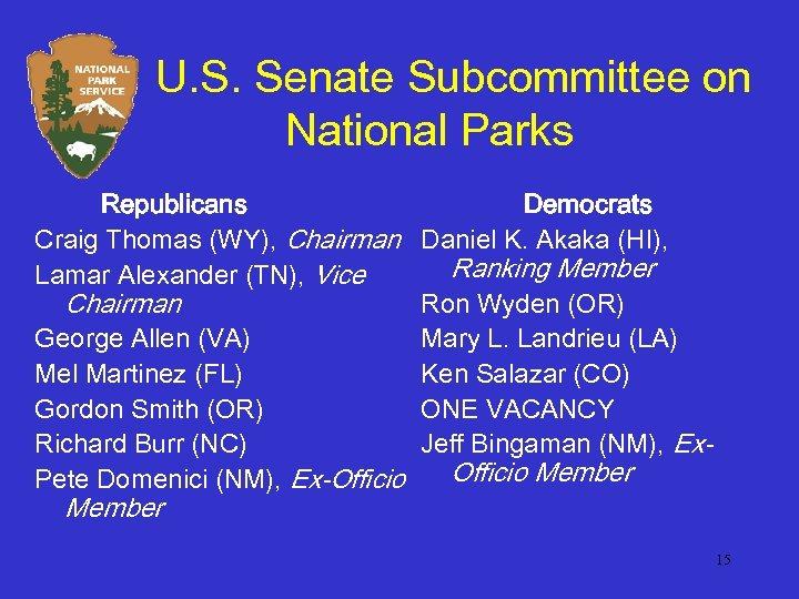 U. S. Senate Subcommittee on National Parks Republicans Democrats Craig Thomas (WY), Chairman Daniel