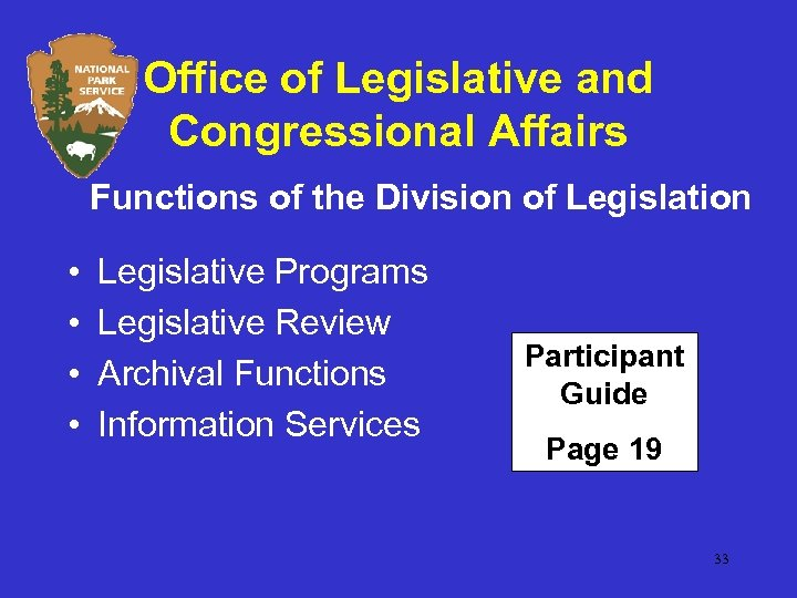 Office of Legislative and Congressional Affairs Functions of the Division of Legislation • •