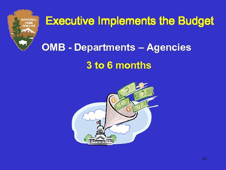 Executive Implements the Budget OMB - Departments – Agencies 3 to 6 months 47