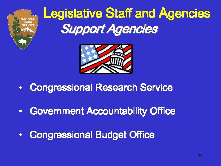 Legislative Staff and Agencies Support Agencies • Congressional Research Service • Government Accountability Office