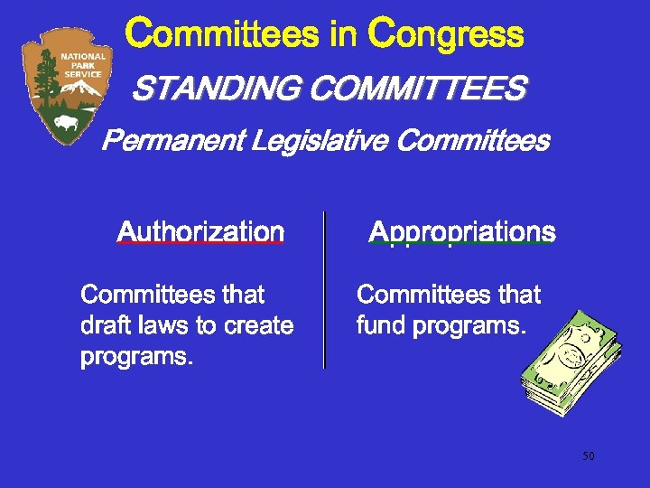Committees in Congress STANDING COMMITTEES Permanent Legislative Committees Authorization Committees that draft laws to