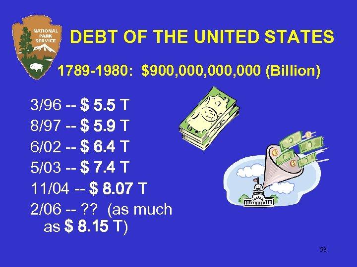 DEBT OF THE UNITED STATES 1789 -1980: $900, 000, 000 (Billion) 3/96 -- $